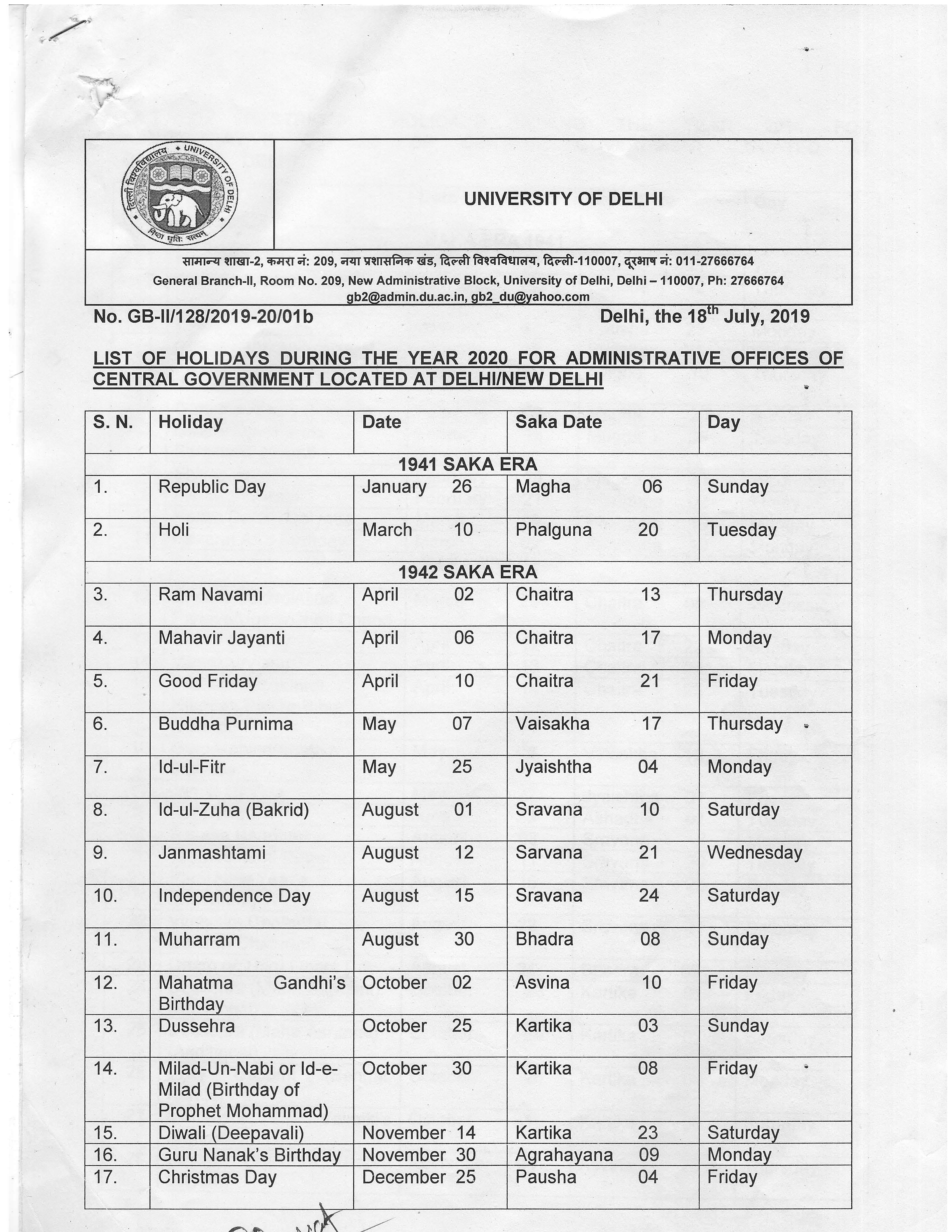 Academic Calendar - University of Delhi
