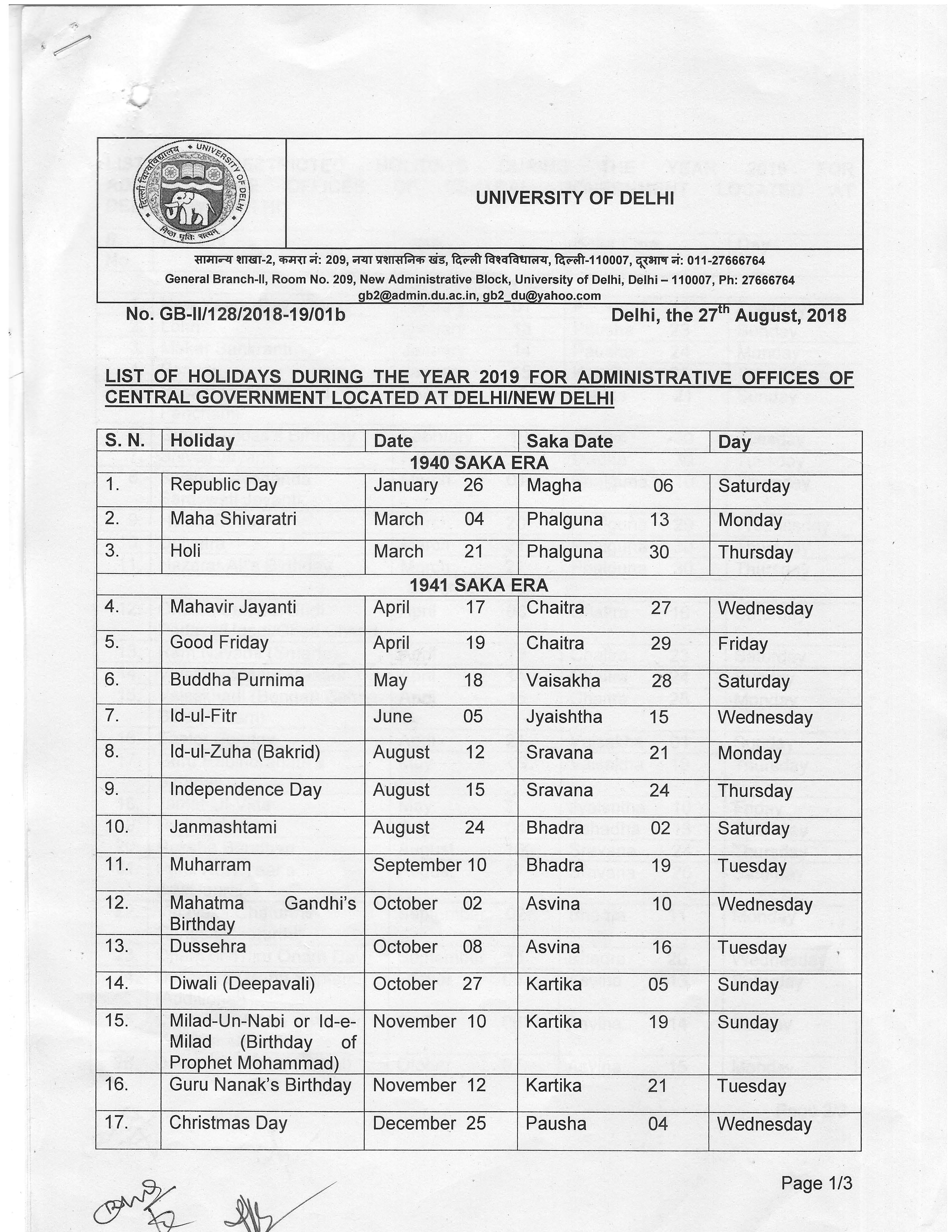 Academic Calendar University Of Delhi